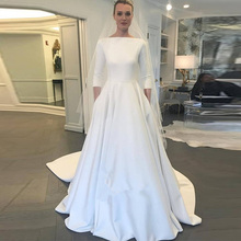 a44cec0e2a52 2019 Elegant A-line Satin Wedding Dresses Three Quarter Length Sleeves  Zipper With Button Back