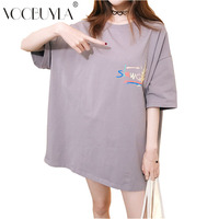 Voobuyla Womens Casual Loose T Shirts 2018 Summer Lettel Printing O Neck Tshirt Tops Short Sleeve