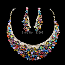 bride's jewelry Siam color paint rhinestone wedding Czech stone Evening Party necklace earrings set  Free Shipping