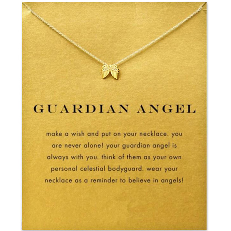 Fashion Angel Wings Necklace For Women Animal Pendant Gold Color Chain Statement Choker Necklaces Guardian Angel Gift Card