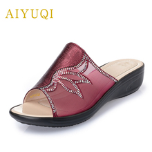 Plus size 41#42#43# wear women's slippers 2019 summer new genuie leather women's slippers flat bottom mother slippers shoes wome genuie left