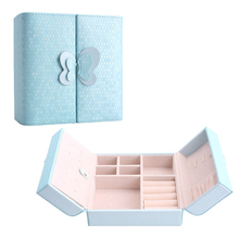 Leather Butterfly Travel Jewelry Display Organizer Storage Box for Earrings Rings Bracelet Necklace (Blue)