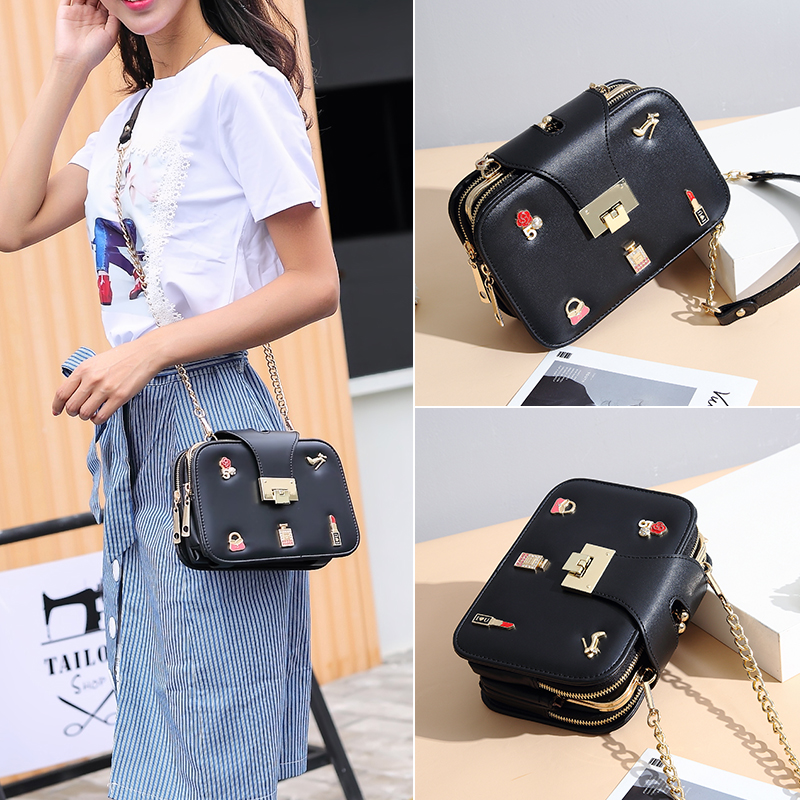 Femminile Rosa Fata Selvaggio Il Coreana Sacchetto Nero bianco Catena Spalla colore Piccolo Bag Del Di Messenger Versione Zx5PRU