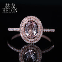 HELON Women's Jewelry 7x5mm Oval 0.62ct Morganite 0.25ct Diamond Two Halo Engagement Wedding Ring Setting Solid 14K Rose Gold