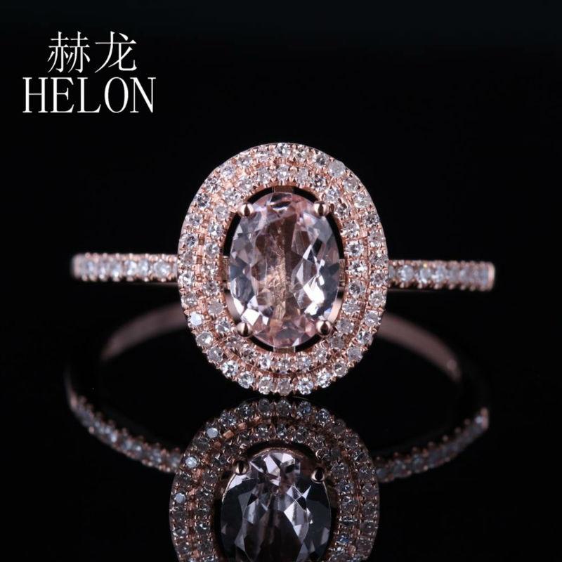 HELON bijoux femmes 7x5mm ovale 0.62ct Morganite 0.25ct diamant deux Halo fiançailles bague de mariage réglage solide 14 K or Rose