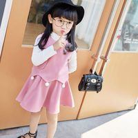 2018 new Kids Outfits autumn girl clothes set fashion cartoon solid skirt three sets of tide cute children girls clothing sets