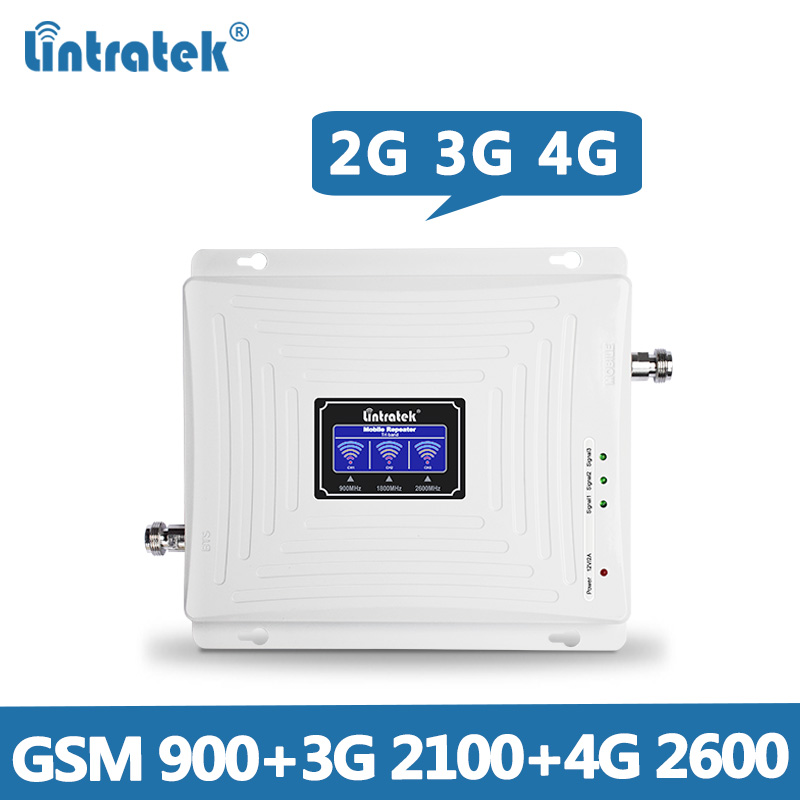 Lintratek Repeater 900 2100 2600Mhz Signal Booster 2G 3G 4G LTE Tri Band Amplifier GSM 900 3G 2100 4G 2600 WITHOUT ANTENNA @7-in Signal Boosters from Cellphones & Telecommunications