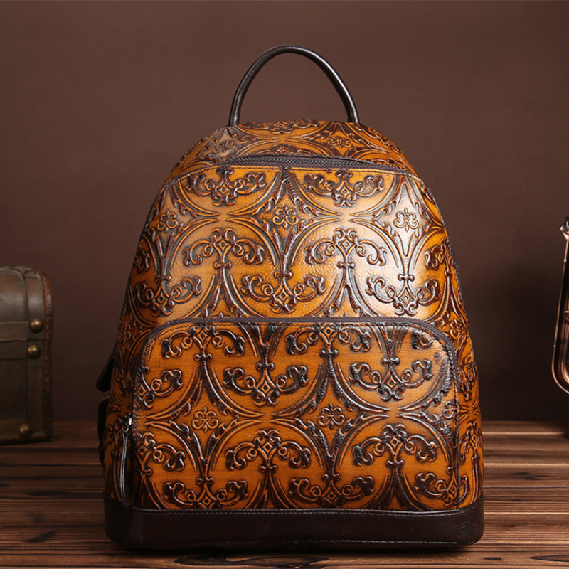 2017 Fashion Genuine Leather Women Backpacks High Quality Embossed Ladies Backpack Teenage Girls Famous Brand Travel Female Bags