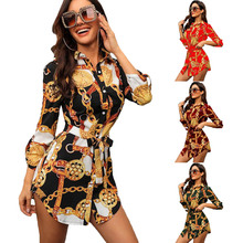 Women Retro Print Slim Fit Casual Mini Shirt Dress for Summer -OPK