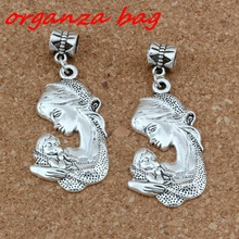Hot !  15pcs Antique Silver Tone Vintage Alloy Mother New Baby Newborn Woman Mom charm Dangle Bead Fit Charm Bracelet 49 x 21mm