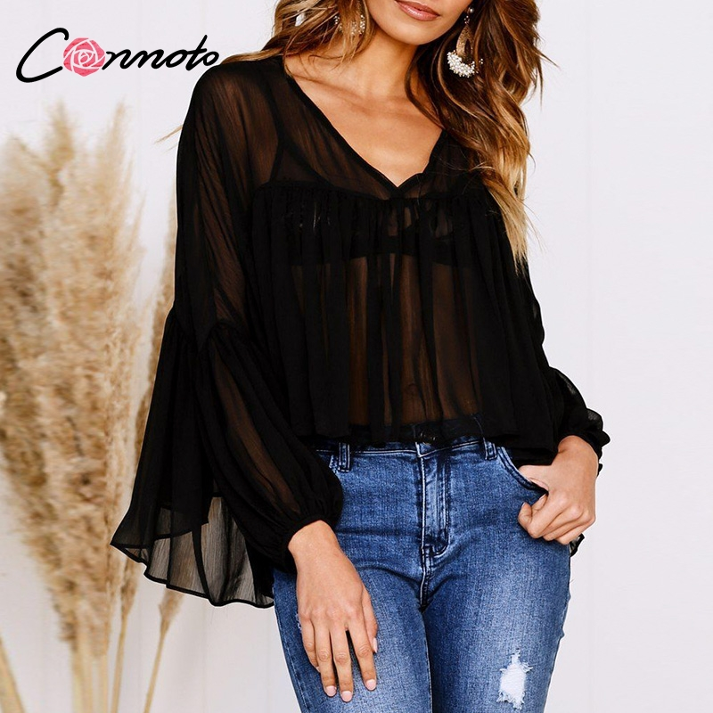 Conmoto Womens Tops And Blouses Chiffon Draped See Through Blouse Shirt Flare Sleeve Sexy Blouse Black Feminino Mujer Blusa Блузка