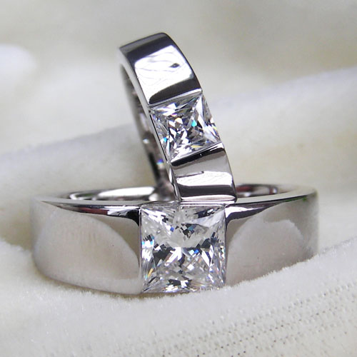 Super Design Pair Engagement Rings Pure 18k White Gold Couple Ring