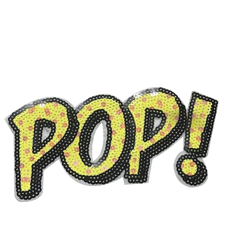 Free shipping sequins letters patch 18cm pop! deal with it iron on patches for clothing 3d t shirt mens, T shirt Women