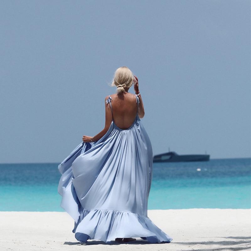 Plus Size Backless Summer Beach Dress New Spaghetti Strap Maxi Long Loose Boho Sexy Dress For Evening Party Elegant Women Dress