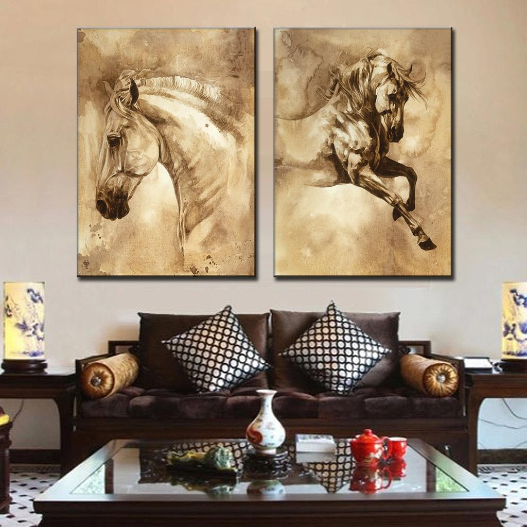 Aliexpress Buy Retro Chinese Traditional Animal Horse Canvas Prints Painting 2 Pcs Set Modern European Running Oil Art Living Room Decor From