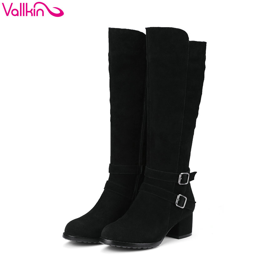 VALLKIN 2018 Women Boots Knee-high Boots Elegant Cow Suede Chunky Short Plush Warm Square High Heels Ladies Boots Size 34-40 vallkin 2018 women boots elegant pointed toe square high heels ankle boots short plush pu lining black ladies boots size 34 42