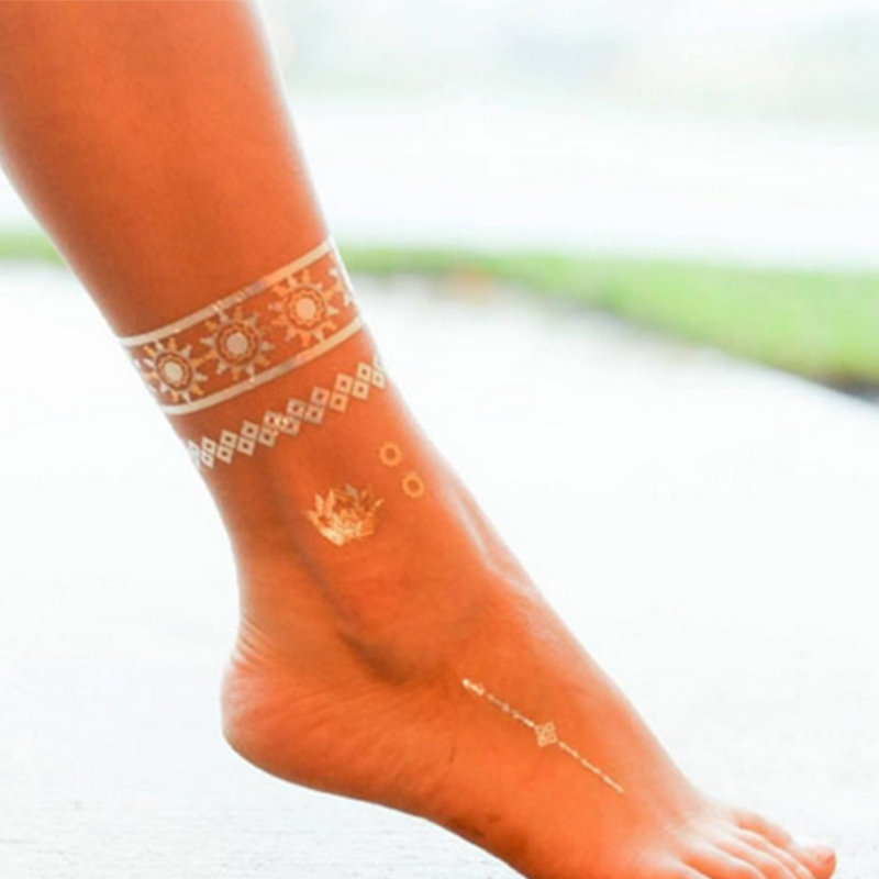 8 Types Temporary Tattoo Sticker Metallic Gold Silver Wrist Ankle Body Art Temporary Tattoo Bracelet Sexy Flash Tattoos Sticker