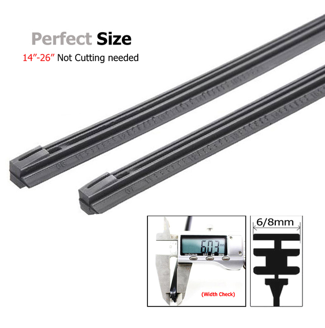 2PCS Auto Vehicle Insert Soft Rubber Strip Refill For Metal U-type Wiper Blades Windshield 6mm/8mm 14″  16″ 22″ 24″ 26″