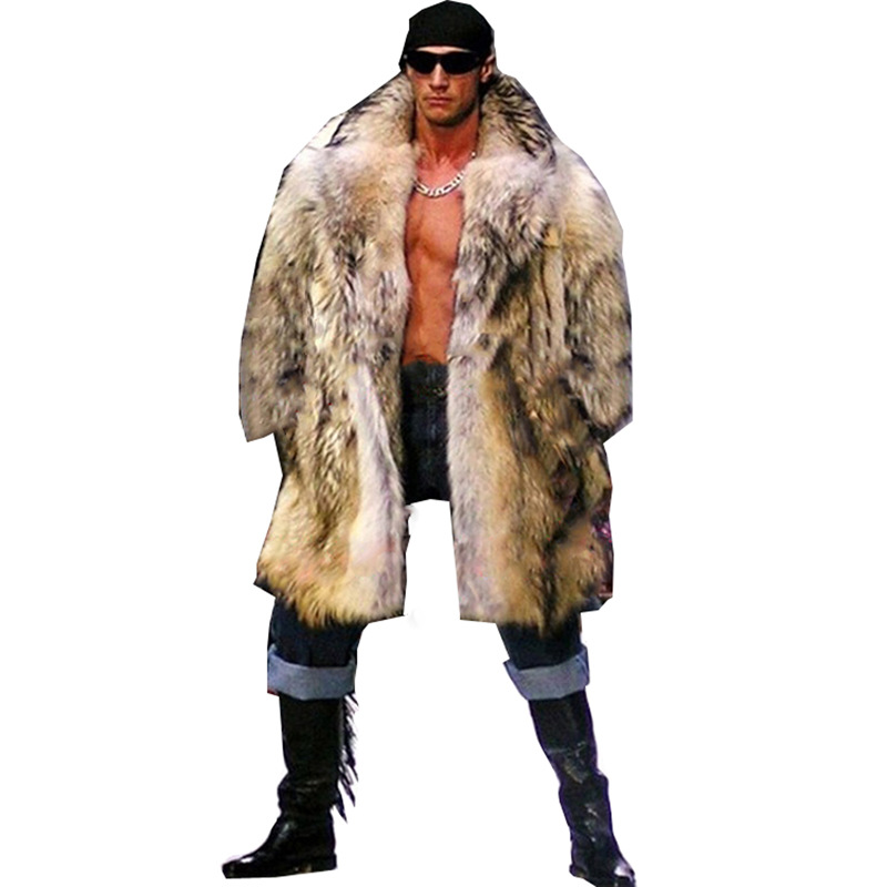 2019 Winter Men Long Hair Raccoon Fur Coat Faux Fur Outwear Coats Mens Punk Parka Jackets Hombre Fur Overcoat Clothing Plus Size