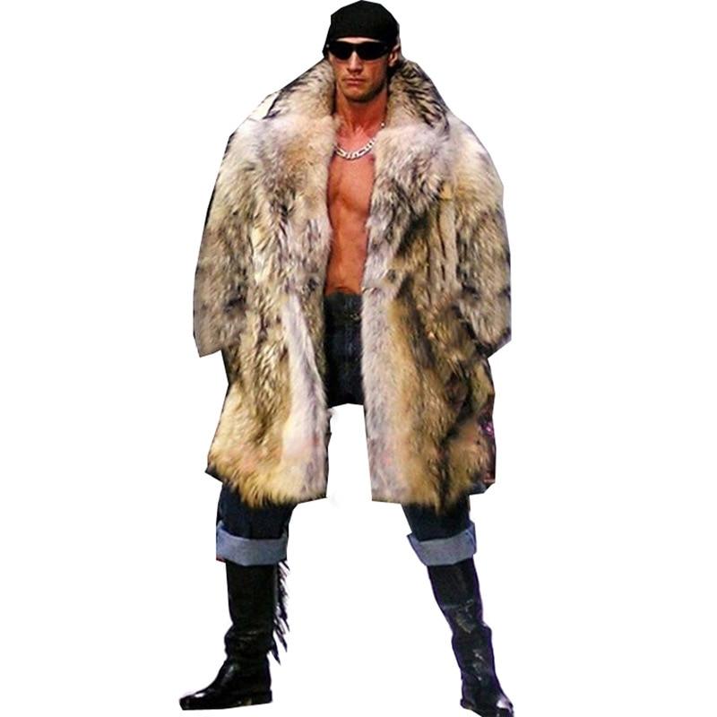 2019 Winter Men Long Hair Raccoon Fur Coat Faux Fur Outwear Coats Mens Punk Parka Jackets Hombre Fur Overcoat Clothing Plus Size
