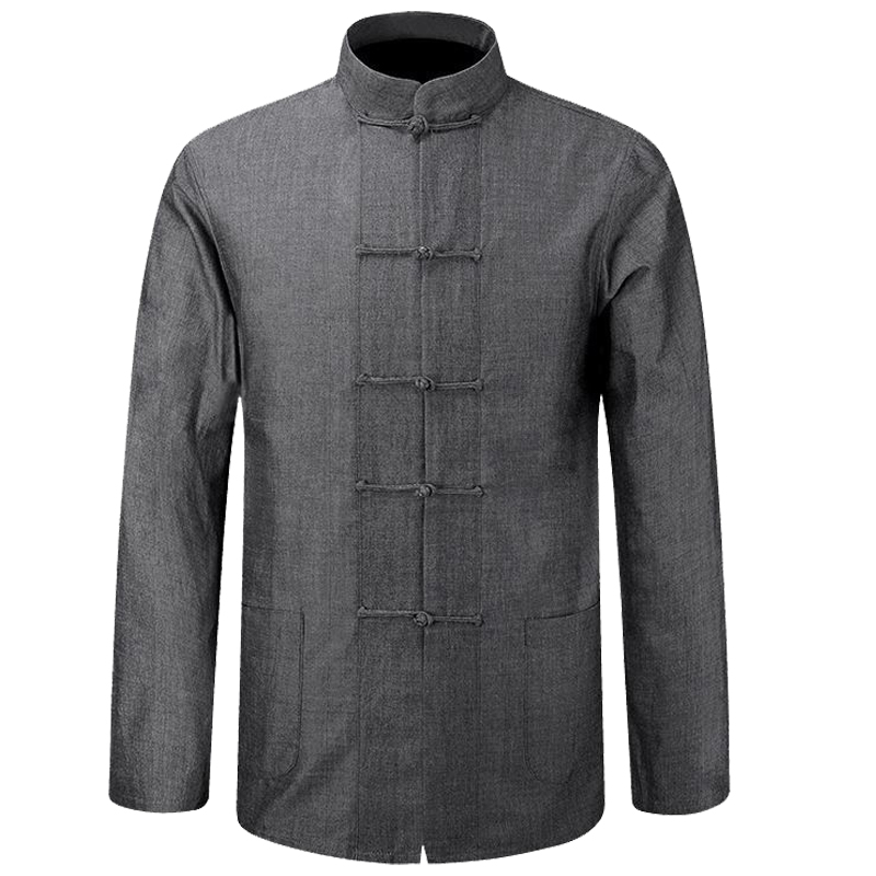 New Male Traditional Chinese Tai Ji Cotton Shirt