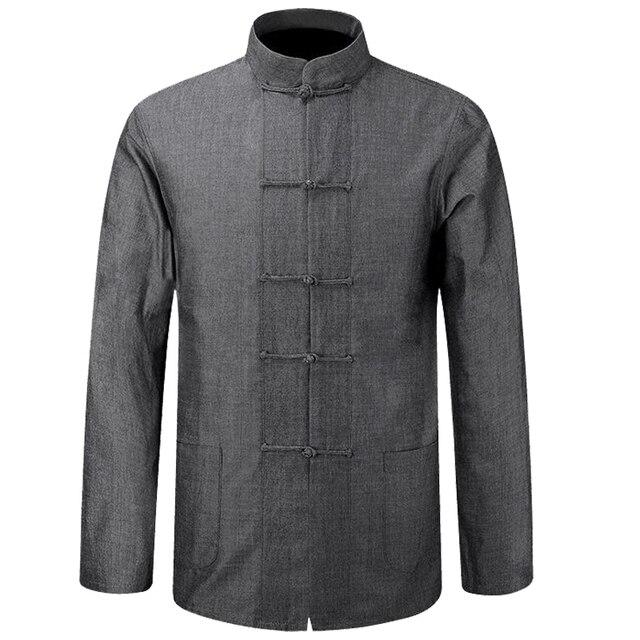 f1ac0c5b0bdc Nouveau Mâle Coton Chemise Traditionnelle Chinoise Hommes Manteau Vêtements Kung  Fu Tai Chi Uniforme Automne Printemps