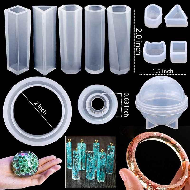 1 סט DIY אפוקסי שרף חומרים מקצועי תכשיטי ביצוע כלים סיליקון עובש ציפורניים תרגיל תבניות נצנצים כפית טפטפת בעבודת יד