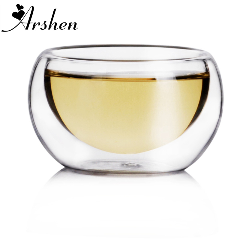 Arshen Clear Drinking Double Wall Tea Cup Water Tea cups