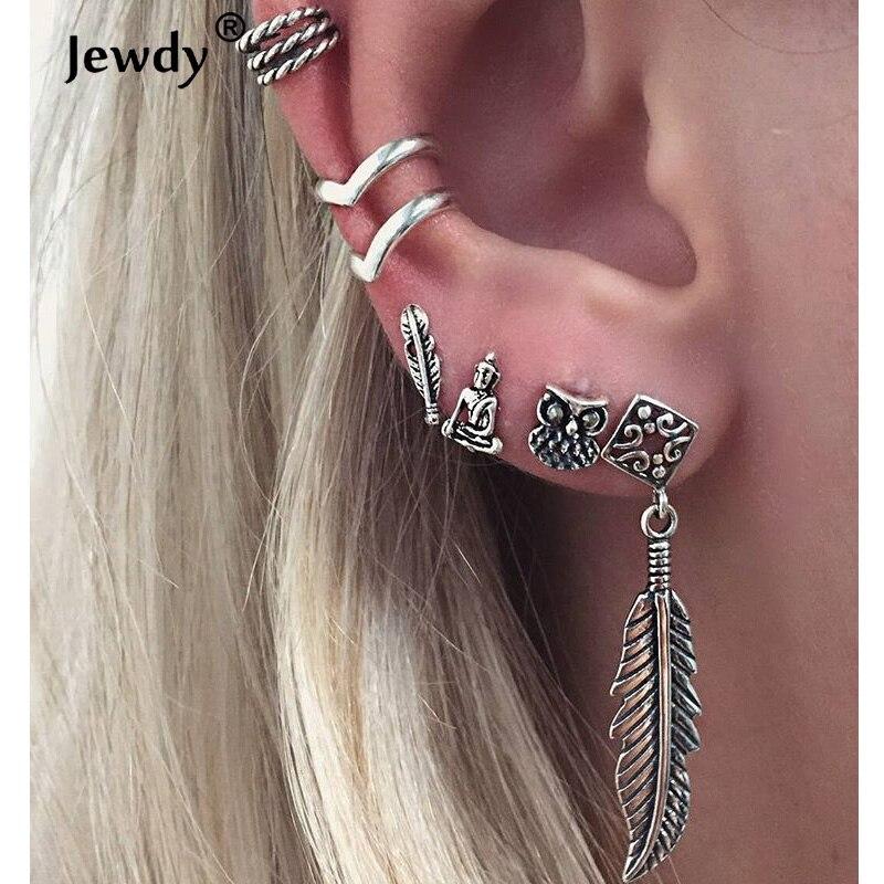 Jewdy 6 Pairs/Set Bohemian Leaf Earrings For Women Stud Earrings Boho Jewelry Bijoux Brincos Pendientes Mujer Gypsy Earrings Set