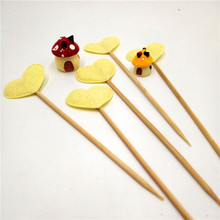5Pcs/lot Yellow Heart Cupcake Toppers Birthday Party Decorations christmas Shower Childrens Supplies wedding decoration