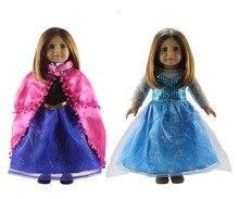2 مجموعة آنا و إلسا فستان ملابس ل 18 الأمريكية دمية الأميرة ازياء ثوب