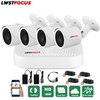 LWSTFOCUS 4CH AHD 1080N DVR Security Camera System 4PCS 1080P Weatherproof Bullet Security Camera CCTV Home