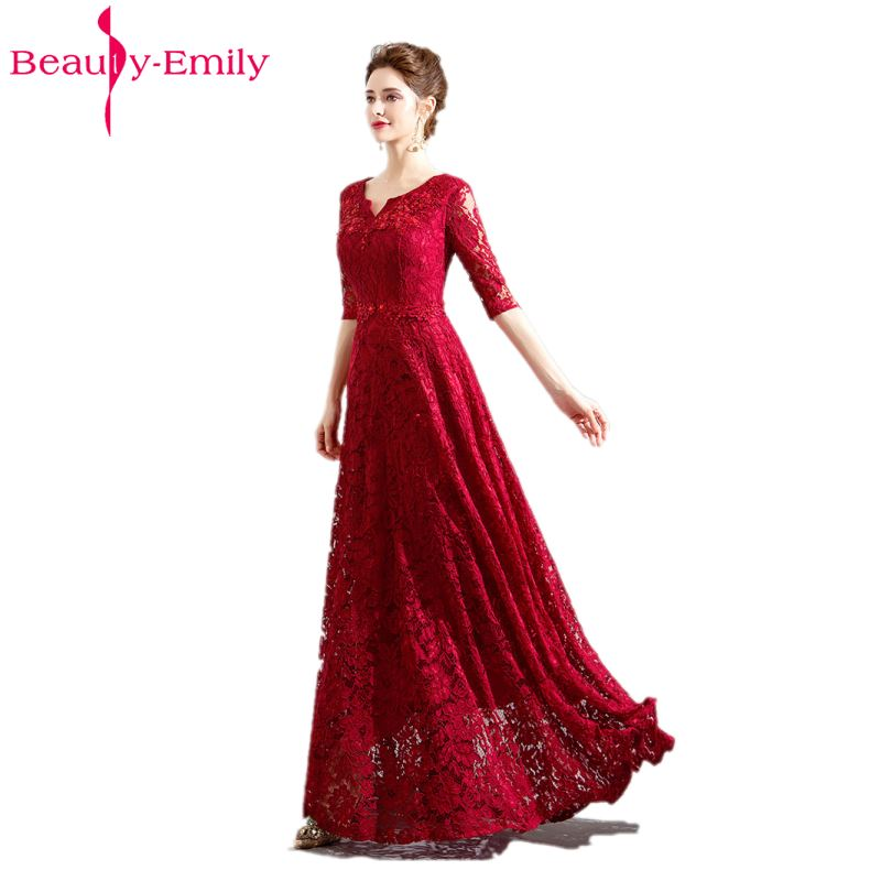Beauty Emily Custom-made Long Red Lace   Evening     Dresses   2019 V-Neck A-line Short Sleeve Zipper Bride   Dresses   Party Prom   Dresses