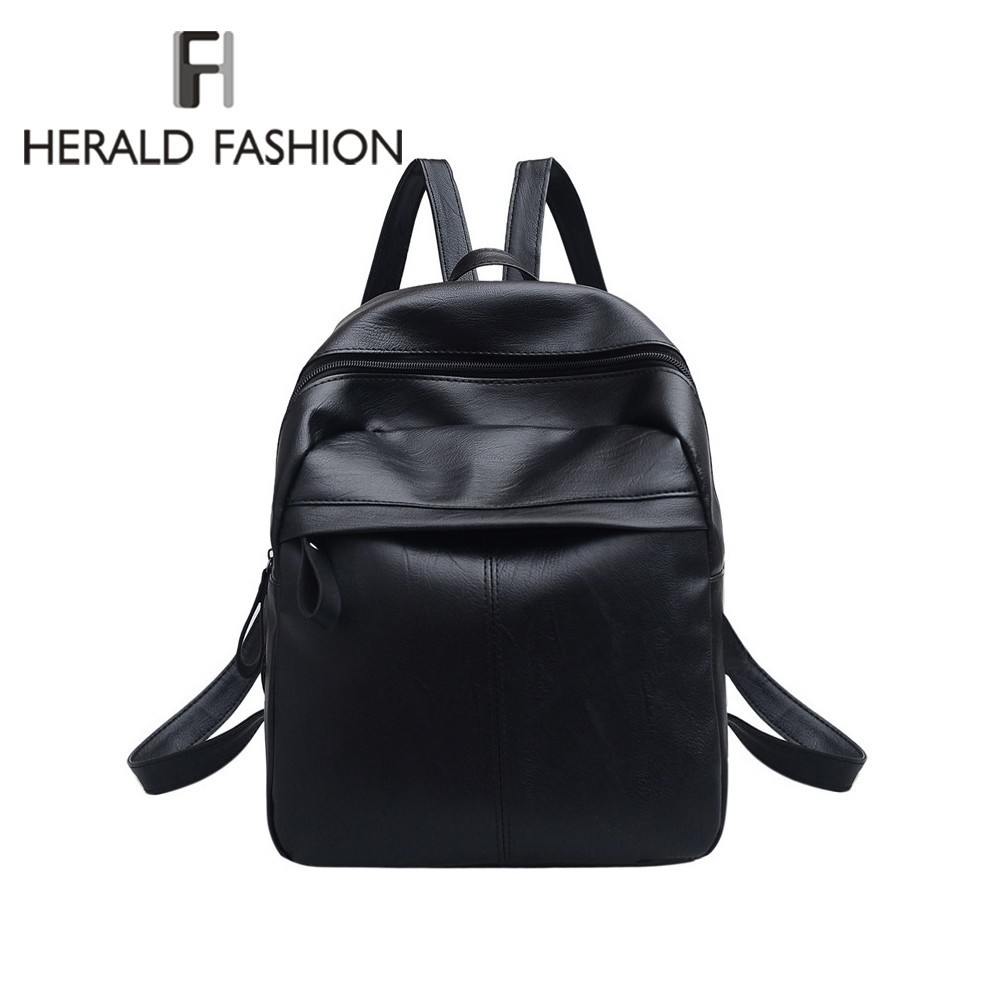 Herald Fashion Quality PU Leather Women Backpack Fashion Solid School Bags For Teenager Girls Casual Women Black Backpacks