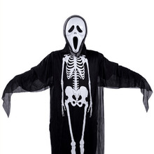 2017 New Skull Skeleton Ghost Cosplay Costume Men Women Adults Halloween Carnival Masquerade Fancy Dress Party Performance Wear