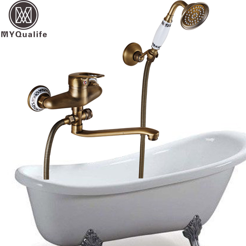 Antique Brass Long Nose Water Outlet Pipe Bathroom Faucet Bathtub Mixer Single Handle Control Bath and Shower Hot Cold Crane wall mount single handle bath shower faucet with handshower antique brass bathroom shower mixer tap