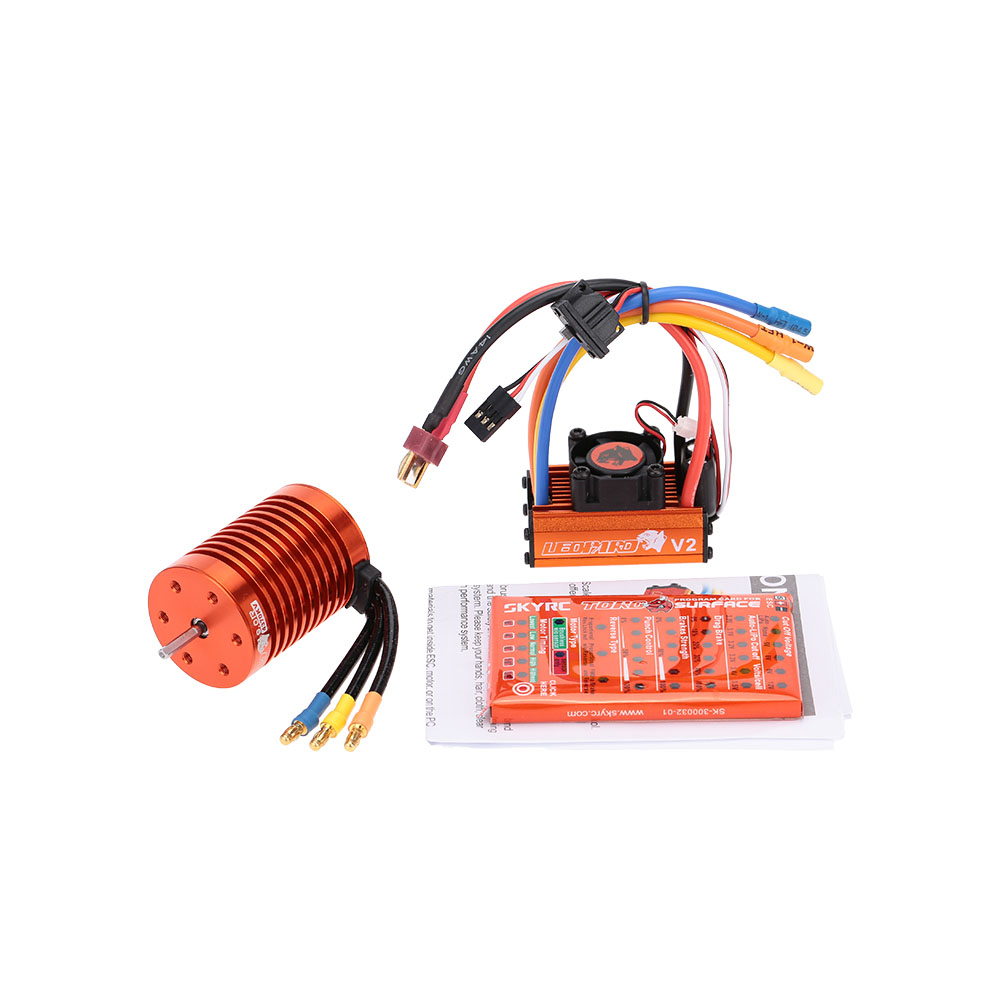 SKYRC 9T 4370KV Brushless Motor + 60A Brushless ESC with 5V/2A BEC Linear Mode + Program Card Combo brushless For 1/10 RC Car-in Parts & Accessories from Toys & Hobbies    1