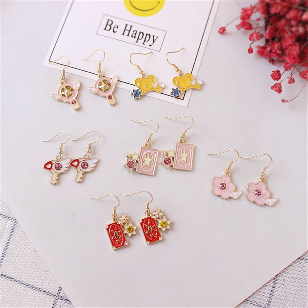 2018 New Lovely Fashion Girl Cherry Blossom Series Bird Head Cherry Blossom Semi-precious Stones Anime Cartoon Series Earrings Jewelry & Accessories