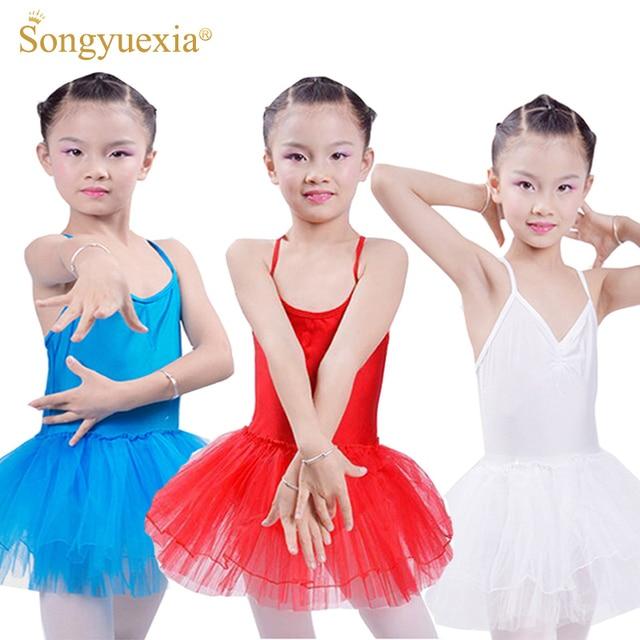 2017 Enfant балетное платье-пачка для девочек трико для гимнастики балетная одежда Детские подтяжки детский танцевальный костюм 5 цветов