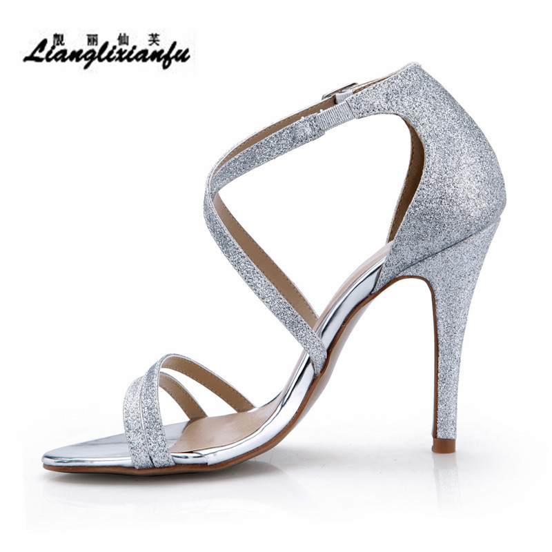 LLXF Plus:35-42 43 Stiletto Summer Lady Peep Toe Pumps sexy 10cm thin high-heeled shoes woman Sliver Sequins Cross-strap sandals llxf summer sandals plus 34 41 42 43 crossdresser sexy 19 20cm transparent high heeled shoes woman stiletto ankle strap pumps