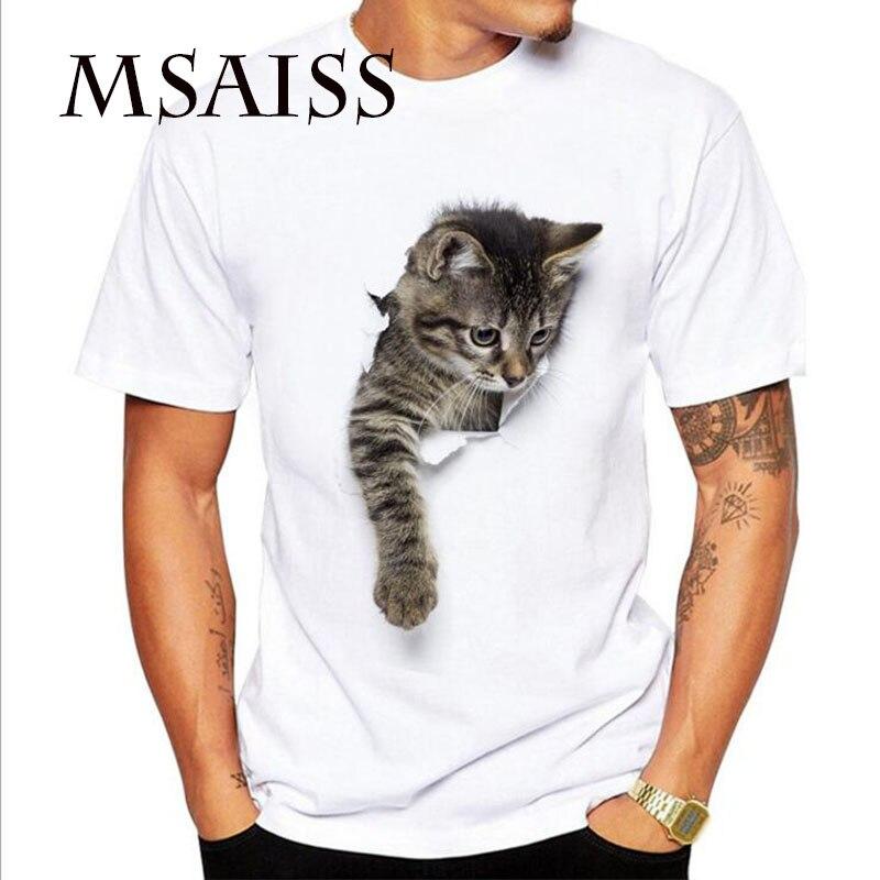 Msaiss S-3XL verão gato 3d adorável t shirtomen impressão originalidade o pescoço manga curta camiseta topos t