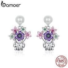 Bamoer Bloem Boeket Dangle Oorbellen Voor Vrouwen Bruiloft Sieraden 925 Sterling Zilver Witte Parel Earing Originele Ontwerp BSE152