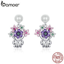 Женские серьги подвески bemoer, серьги в виде цветов, 925 пробы, серебристый белый жемчуг, оригинальный дизайн, BSE152