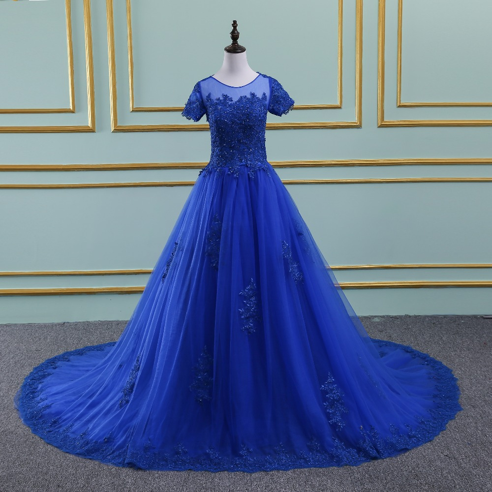 Blue Prom Dresses Long 2019 Party Dresses Lace up Back Evening Dresses Prom Party Dress vestido de noiva Real Sample