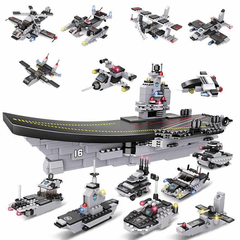 751PCS LiaoNing Vliegtuigen Oorlogsschip Groep Bouwstenen 8 in 1 Aircrafted Carrier Militaire Schip Bricks Speelgoed Voor Kinderen