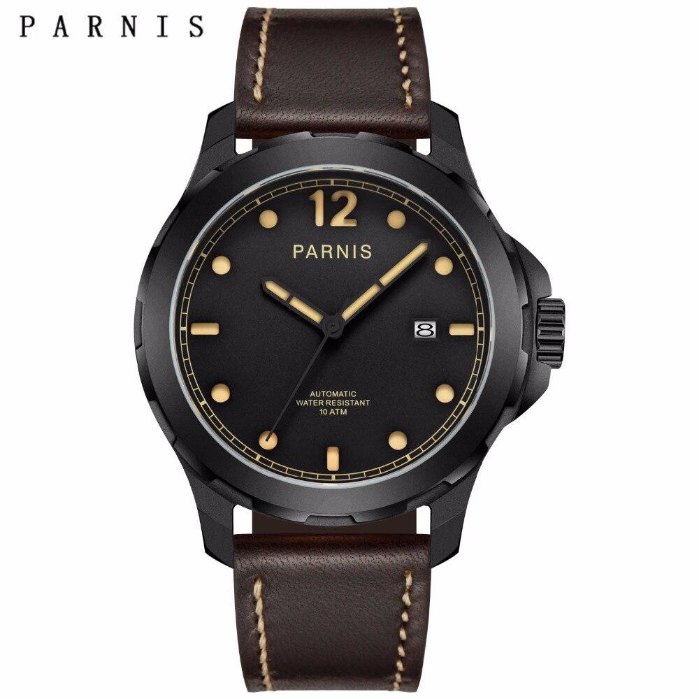 47mm Parnis Mens Mécanique Montres Militaire Montre Hommes Montre-Bracelet Automatique Saphir Auto Date Brun Véritable Bracelet En Cuir