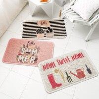 PVC Silk Loop Dust proof Pink Rug Doormat Thickening Non slip Outdoor Door Mats Shoes Scraper for Bathroom Area Rugs