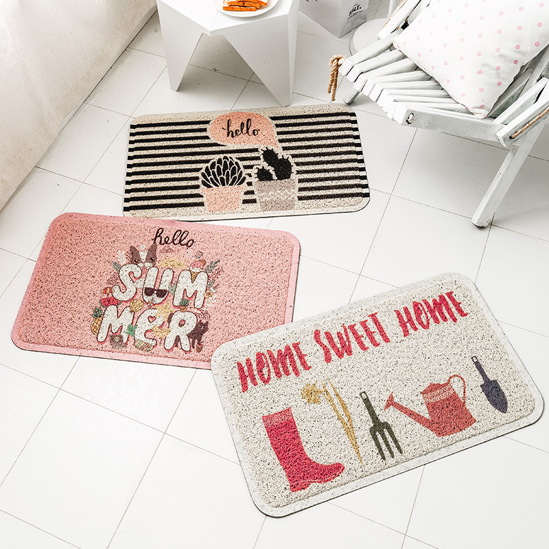 Tapis rose anti-poussière de boucle de soie de PVC paillasson épaississant le grattoir extérieur antidérapant de chaussures de tapis de porte pour des petits tapis de salle de bains