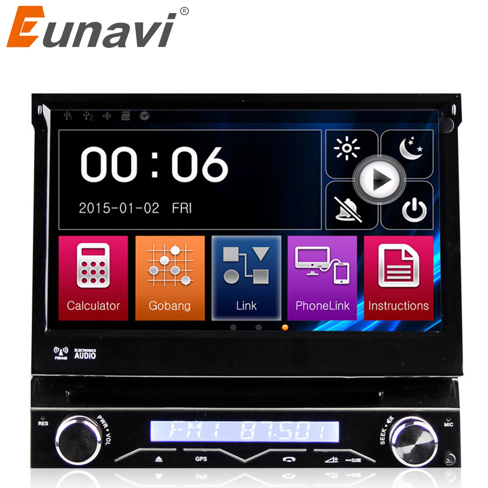 Eunavi Single 1 DIN universal Car DVD Player Car Radio auto radio GPS Navigation with Touch Stereo automotive+free 8GB map image