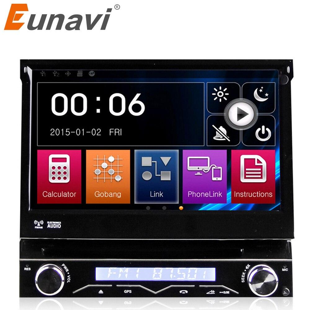 Eunavi Tek 1 DIN evrensel Araba DVD Oynatıcı Araç Radyosu ile oto radyo GPS Navigasyon Dokunmatik Stereo otomotiv + ücretsiz 8 GB haritası